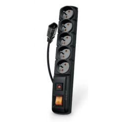 Acar F5 IEC 5m kabel, 5 zásuvek, přepěťová ochrana, C14 do UPS, černý