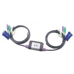 Aten mini přepínač počítačů (Klávesnice, VGA, Myš, Audio) 2:1 PS/2, integrované kabely 1.2m