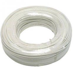 Plochý telefonní 4-žilový kabel, CCS, bílý, 100m