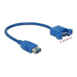 Delock kabel USB 3.0 Type-A samice > USB 3.0 Type-A samice přišroubovatelný 25 cm
