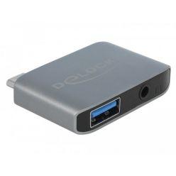 Delock Audio adaptér USB-C samec -> 3.5mm jack + USB-A 3.0 samice