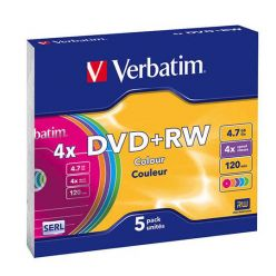 Verbatim DVD+RW Colours, 4.7GB, 4x, 5ks, slim case