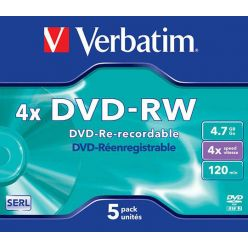 Verbatim DVD-RW Matt Silver, 4.7GB, 4x, 5ks, jewel case