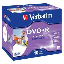 Verbatim DVD+R Wide Printable, 4.7GB, 16x, 10ks, jewel case