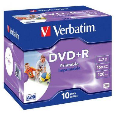 Verbatim DVD+R Wide Printable, 4.7GB, 16x, 10ks, jewel case