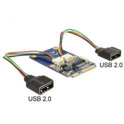 Delock USB 2.0 řadič se dvěma USB porty, MiniPCIe full size