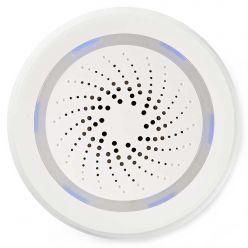 NEDIS Wi-Fi chytrá siréna/ alarm nebo vyzvánění/ hlasitost 85 dB/ micro USB/ bílá