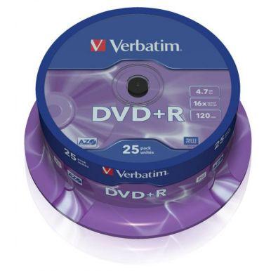 Verbatim DVD+R Matt Silver, 4.7GB, 16x, 25ks, spindle
