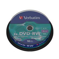 Verbatim DVD-RW Matt Silver, 4.7GB, 4x, 10ks, spindle