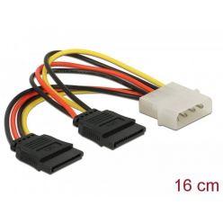 Delock napájecí redukce z Molex 4-pin na 2x SATA 15-pin