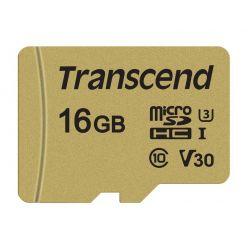 Transcend 500S 16GB microSDHC karta, UHS-I U3 V30, 95R/60W + adaptér