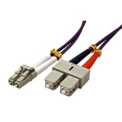 Optický patchkabel LC-SC 50/125 (multimode), duplex, OM4, 1m