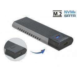 Delock externí box na M.2 SSD (SATA i PCIe), USB-C, beznástrojový