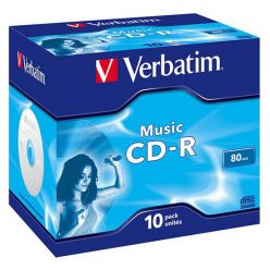 Verbatim CD-R hudební, 80 minut, 16x, 10ks, jewel case
