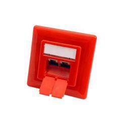 Zásuvka STP kat. 6 pod omítku, 2 konektory, vertikální přívod, červená