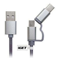 iGET datový a nabíjecí kabel o délce 1 m s prodlouženými konektory USB-C a microUSB