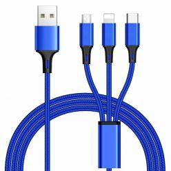 PremiumCord USB kabel 3v1 (USB-C + micro USB + Lightning), 1.2m