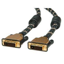 Roline Gold dual link DVI kabel, DVI-D(M) -> DVI-D(M), s ferity, 1m, zlacené