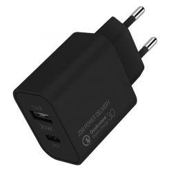 COLORWAY 1x USB a 1x USB-C/ síťová nabíječka/ 20W/ 100V-240V/ Černá