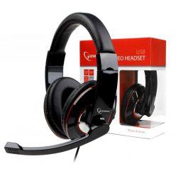 Gembird MHS-U-001, herní sluchátka s mikrofonem, USB, černá