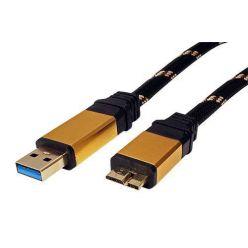 Roline Gold propojovací micro USB 3.0 kabel, 0.8m