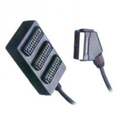 PremiumCord Adapter rozbočovač SCART-3xSCART F, kabel 0,5m