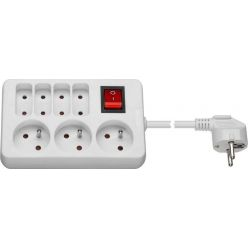 PremiumCord Prodlužovací přívod 230V 1,5m 3+4 zásuvky+vypínač