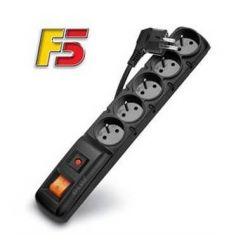 Acar F5 5m kabel, 5 zásuvek, přepěťová ochrana, černý