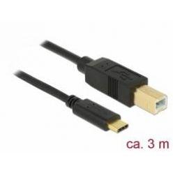 Delock USB 2.0 kabel USB-C na USB-B, 3m, černý