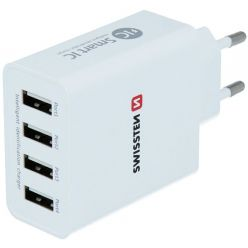 Swissten Síťový Adaptér Smart Ic 4X Usb 5A Power Bílý