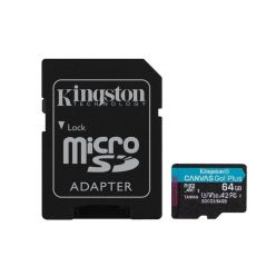 Kingston Canvas Go! Plus 64GB microSDXC karta, UHS-I V30 A2, 170R/100W + adaptér