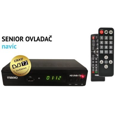 Maxxo T2 SetTopBox DVB-T2 + ovladač pro seniory