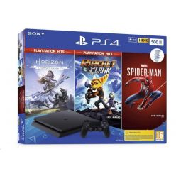Sony Playstation 4 černý 500GB + HZN HITS/ Marvel Spider Man / R&C HITS