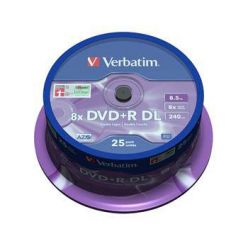 Verbatim DVD+R DL Matt Silver, 8.5GB, 8x, 25ks spindle
