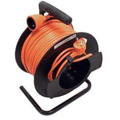 Kabel síťový prodlužovací 230V, na bubnu, 50m, oranžový