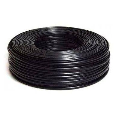 Plochý telefonní 4-žilový kabel, CCA, černý, 100m
