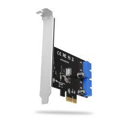 AXAGON PCEU-034VL, USB 3.0 řadič, 2x interní 19-pin, UASP, LP, PCIe