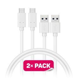 CONNECT IT Wirez USB-C -> USB-A (USB 3.0), 1m, bílý, 2ks v balení