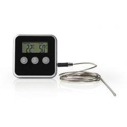 Nedis KATH105BK - Teploměr na Maso | 0–250 °C | Digitální Displej | Časovač