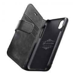 Kožené pouzdro typu kniha Cellularline Supreme pro Apple iPhone XS Max, černé
