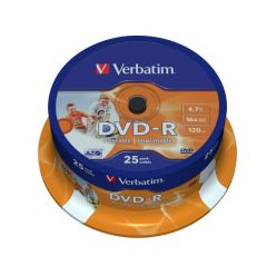 Verbatim DVD-R Wide Printable, 4.7GB, 16x, 25ks, spindle