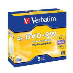 Verbatim DVD+RW Matt Silver, 4.7GB, 4x, 5ks, jewel case