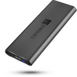 CONNECT IT AluSafe externí box SSD M.2 (PCIe) USB-C (USB 3.1), antracitový