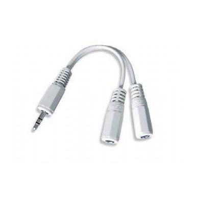 Kabelová rozdvojka jack 3.5mm, 2xF, 1xM, 10cm, stereo