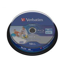 Verbatim BD-R Wide Printable, 25GB, 6x, 10ks, spindle