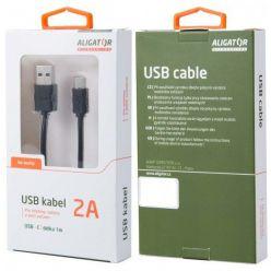 Aligator USB-C datový kabel, 2A, 1m, prodloužený konektor 9mm