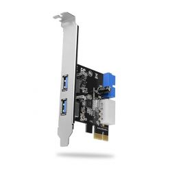 AXAGON PCEU-232VL, USB 3.0 řadič, 2x externí + 1x interní port, UASP, LP, PCIe