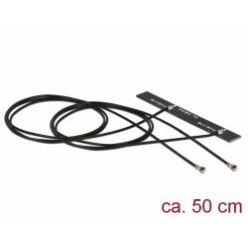 Delock WLAN 802.11 ac/a/h/b/g/n Twin Anténa 2 x MHF® 4L samec 3 - 5 dBi 2 x 50 cm PCB interní samolepící