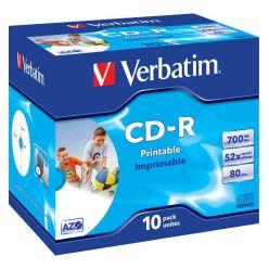Verbatim CD-R AZO Wide Printable, 700MB, 52x, jewel box, 10ks