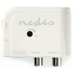 NEDIS zesilovač CATV/ maximální zesílení 15 dB/ 50-694 MHz/ 2 výstupy/ konektor IEC/ bílý